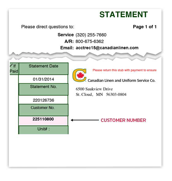 Statement Customer Number